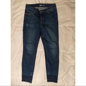 Dark Wash Skinny Jeans - Acid Wash Cuff